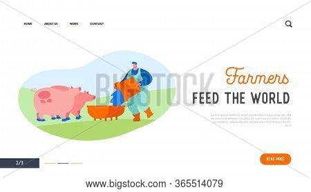 Man Feeding Pigs Putting Grain In Trough Landing Page Template. Farmer Character At Work Process Car