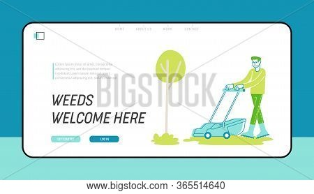 Man Character Mow Lawn In Garden Or Public City Park Landing Page Template. Gardener Or Worker Pushi