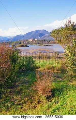 Beautiful Wetland Landscape. Montenegro, Tivat. View Of Tivat Salina  ( Tivatska Solila )  On Sunny