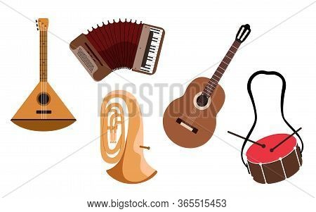 Music Instrument Set. Isolated Musical Instruments - Tuba, Guitar, Balalaika, Accordion And Drums. M