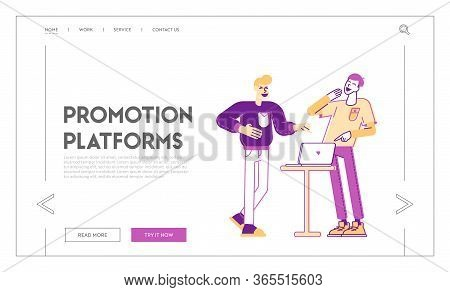 Internet Entertainment, Online Viral Content Repost And Share Landing Page Template. Couple Of Men F