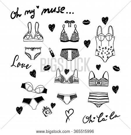Vector Lingerie Seamless Set. Vector Underwear Design Collection. Outline Hand Drawn Illustration. B