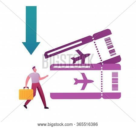 Cheap Flight, Low Cost Airline Offer, Profitable Promotion Concept. Tiny Male Character Tourist With