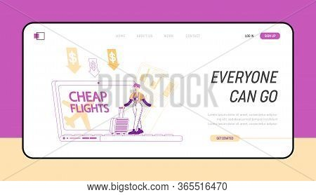 Cheap Flight, Travel Budget Landing Page Template. Tiny Female Character Stand At Huge Laptop With L