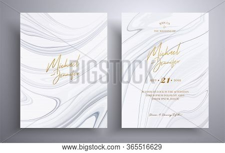 Vector Wedding Invitation With Marble Pattern. Black And White Overflowing Colors. Beautiful Cards T