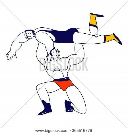 Male Characters Wrestling Fight. Sportsman Holding Opponent Above Head During Competition. Sport, Sh