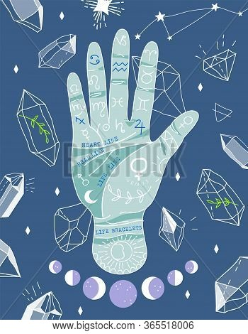 Palmistry And Hieromancy. Hand Lines And Their Meanings. Moon Phases. Crystals And Symbols. Magical