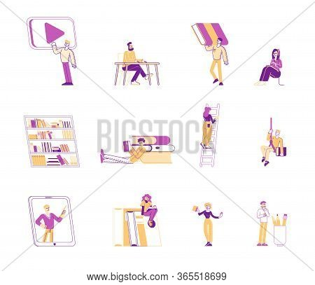 Set Of People Reading Books. Male And Female Characters Read And Study, Students Prepare For Examina