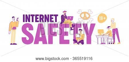 Internet Safety, Pirate Content Free Download Concept. Tiny People Characters Transfer And Sharing F