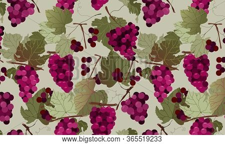 Red Grape Seamless Pattern Design. Hand-drawn Vector Grape Branches And Leaves. Fashionable And Mode