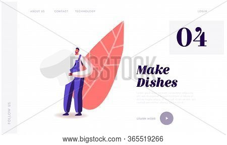 Fungiculture Growth Industry Landing Page Template. Tiny Male Character In Working Overalls Collect