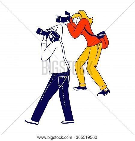 Photographers Group Shooting On Cinema Award Ceremony Or Festival. Paparazzi Characters Waiting Cele