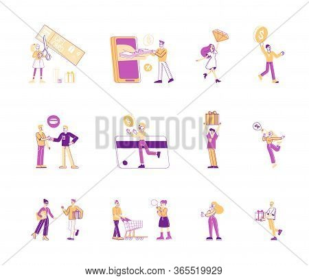 Set Of People And Money Isolated On White Background. Male And Female Characters Using Debit And Cre