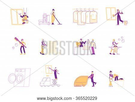 Service Of Professional Cleaners At Work Set. Characters With Equipment Cleaning Room, Windows, Mopp