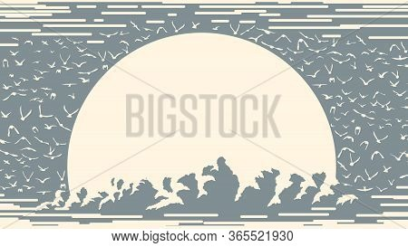 Simple One-color Card With The Sun Setting Behind Clouds And A Flock Of Birds Around (place For Text