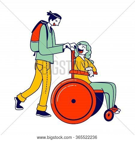 Man Pushing Disabled Woman Sitting In Wheelchair Hurry To Plane Boarding. Love, Family, Human Relati