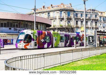 France Montpellier 4 August 2016 Tram In Montpellier, France. The Montpellier Tramway System Has 4 L