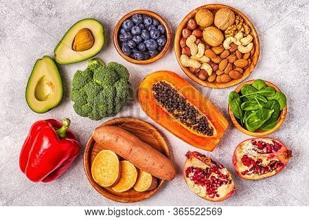 Anti-aging Food - Healthy Fruits, Vegetables, Nuts.