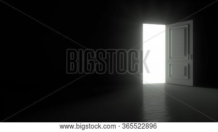 Door In A Dark Room Opens And Fills The Space With Bright White Light In 4k Resolution. 3d Render An