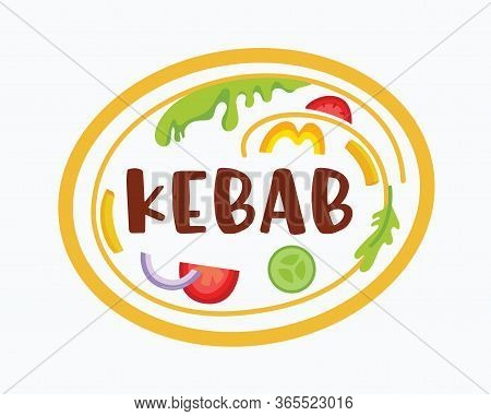 Doner Kebab Banner With Ingredients On Plate. Vegetables In Oval Badge And Typography Isolated On Wh