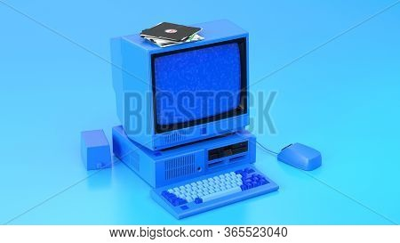 Old-fashioned Personal Computer In Retro 80s Style. Blue Laptop. 3d Render Illustration:monitor, Sys