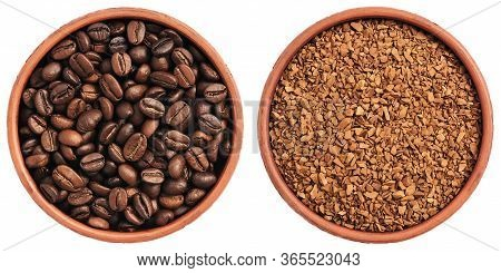 Roasted Coffee Beans And Instant Granular Coffee In A Bowl Isolated On A White Background. View From