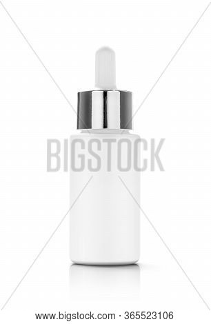Blank Packaging White Glass Dropper Serum Bottle Isolated On White Background With Clipping Path Rea