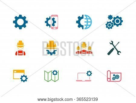 Machine Gear Icon Collection Vector Set, Gear Icon Eps10, Gear Icon Vector Flat, Gear Icon Image, Ge