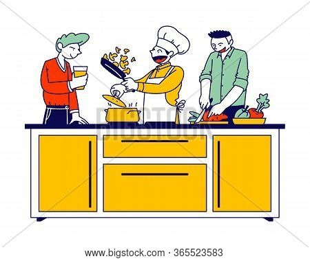 Man In Chef Toque And Apron Cook On Pan With Fire. Restaurant Staff Character, Social Media Blogger