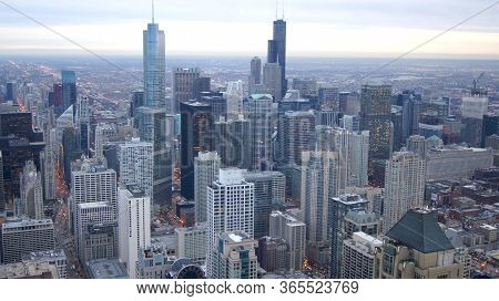 Chicago, Illinois, United States - Dec 11th, 2015: View From John Hancock Tower Fourth Highest Build