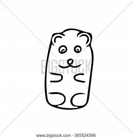 Gummy Bear Hand Drawn Element In Doodle Style. Vector Scandinavian Monochrome Minimalism. Sweets, Ch