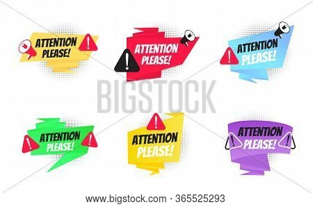 Attention Please Big Banner Ribbon Speech Bubble Set With Text Badge Label Flat Style Design Vector