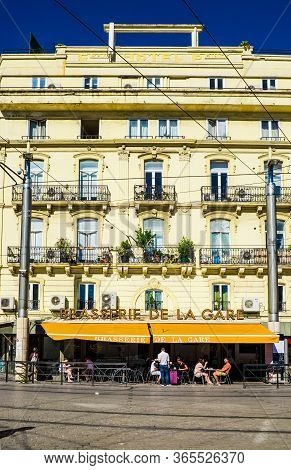 France Nimes August 4 2016 Front View Of The Facade Of The Nimes Railway Station France