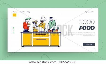 Man In Chef Toque And Apron Cook On Pan With Fire Landing Page Template. Restaurant Staff Character,