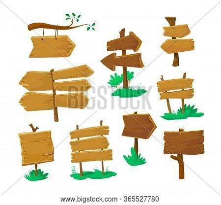 Set Of Old Wooden Blank Signboards Isolated On White Background. Arrow Boards Road Pointers And Plan