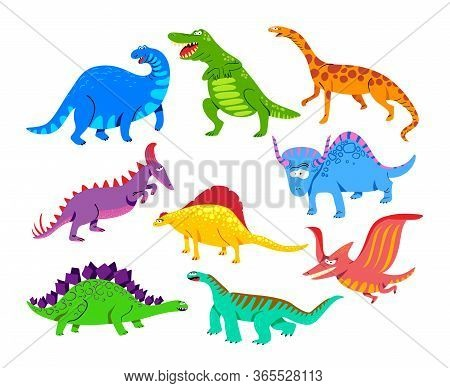 Cute Baby Dinosaurs, Dragons And Funny Dino Characters Set. Isolated Fantasy Colorful Prehistoric Ha