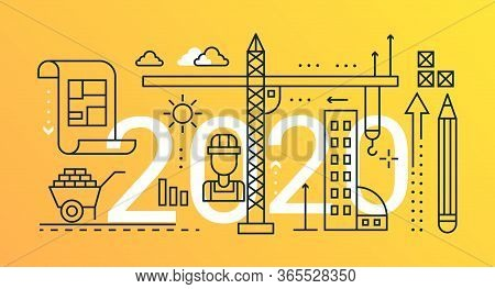 Construction Engineering Thin Line Concept Vector Illustration. Website Interface Creative Linear De