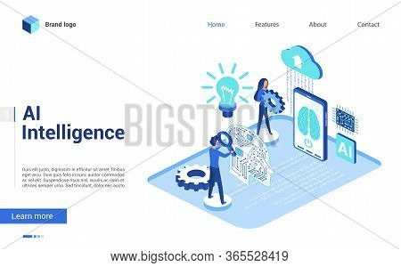 Isometric Artificial Intelligence Vector Illustration. Website Interface Creative 3d Design With Car