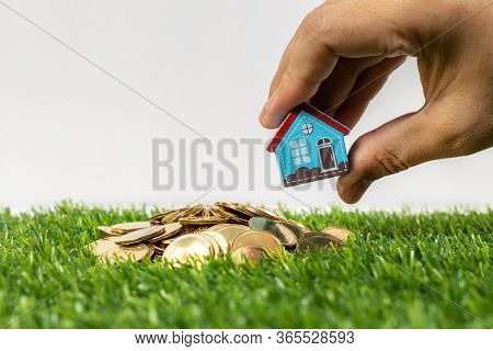 Hand Hold A Home Model Put On The Stack Coin With Growing. Savings Money For Buy House And Loan To B