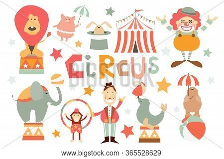 Funny Circus Set. Cute Circus Animals - Lion, Elephant, Bear, Monkey, Seal, Piggy, Rabbit. Circus Ch