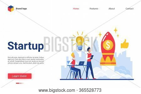 Business Startup Vector Illustration. Cartoon Flat Website Interface Design With Businessman Charact