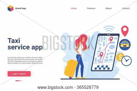 Online Car Service App Vector Illustration. Flat Cartoon Woman Character Using Smartphone, Ordering