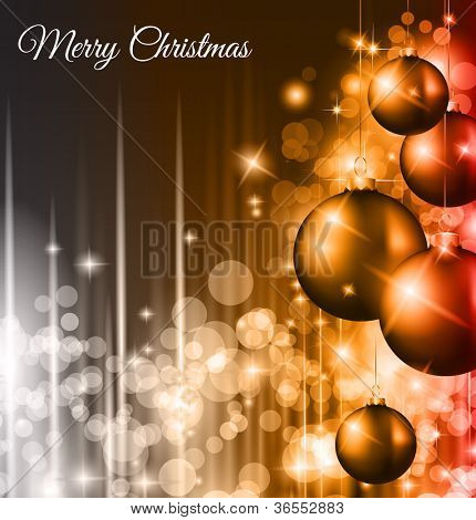 Christmas Background with a waterfall of ray lights with bright stars and a lot of Baubles with a gold rope.
