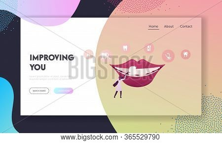 Aesthetic Stomatology Landing Page Template. Tiny Female Dentist Doctor Character In Holding Stomato