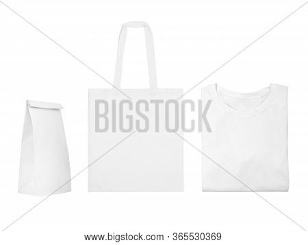 Collection Of White Objects Isolated On White Background. White Cotton Bag, White Folded T-shirt, Pa