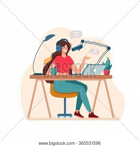 Vector Illustration Podcast Record. The Girl Interviews, Conducts A Webinar, Online Courses, The Con