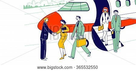 Businesspeople Characters Leaving Airplane Shaking Hand With Meeting Person On Ground. Business Trav