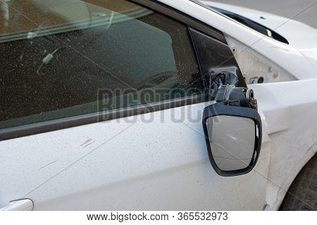 Car Mirror Broken Off, Consequences Of A Car Accident. Damage To A Car Sedan, Vandalism, Hooliganism