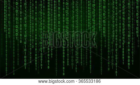 Green Matrix Background. Stream Of Binary Code. Falling Numbers On Dark Backdrop. Digital Computer C