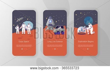 Alien Planet Colonization Mission Mobile App Page Onboard Screen Template. Family Characters Plantin